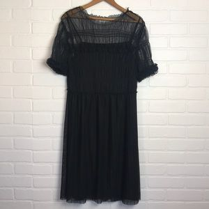 Who What Wear Target black sheer gathered dress